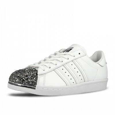 c3cd1440369d12 Woman s Adidas Superstar 80S Metal Toe S76532 White silver Sz 5-11 Us Ds