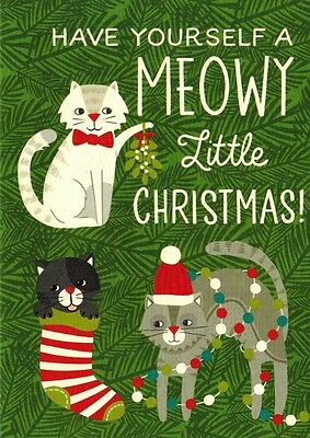 "Cat Christmas Cards ""meowy Little Christmas"" Box Of 10 Cards"