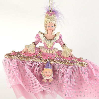 "Nutcracker Ballet Mother Ginger w/ Purple Feather 6"" Resin Christmas Ornament"