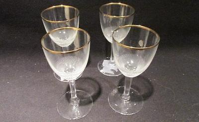 Moser Crystal Vintage Group of 4 Cordial Liqueur Glasses Diamond Pattern & Gold