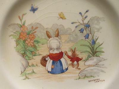 "Barbara Vernon Signed Vintage Bunnykins 6.5""  Plate Doulton A Mark On the Path"