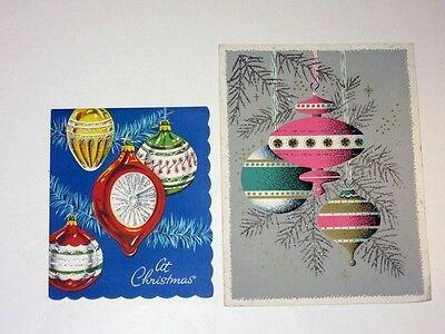 2 Vtg Mid Century Christmas Card Tree Ornaments pink turquoise blue glitter trim