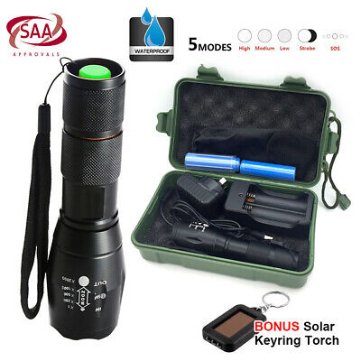 5000LM X800 XML-T6 CREE LED Flashlight Rechargeable Zoom w/ Free Mini LED Torch