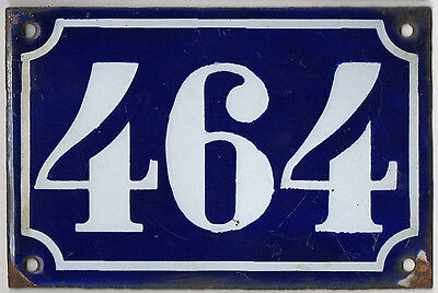 Old blue French house number 464 door gate plate plaque enamel metal sign c1900