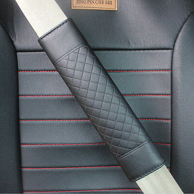 2x  Black Car Safety Belt Covers Leather Seat Belt Shoulder Pad Adjust