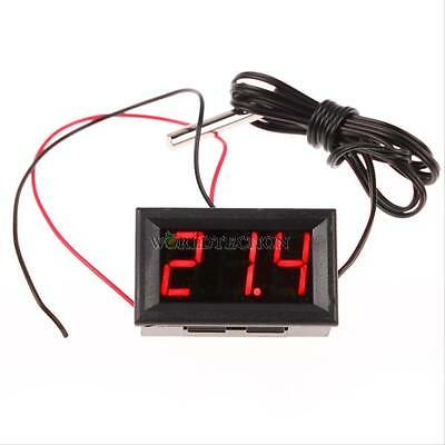 Red DC 12V LED Digital Thermometer Temp 1m meter Probe -50~110C Detector 18MA