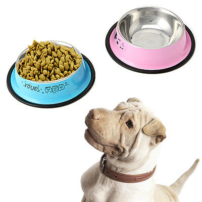 1 x Anti-Skid Stainless Steel Pet Dog Cat Water Food Feeder Feed Water Bowl Dish