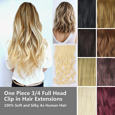 One Piece 3/4 Full Head Clip in Hair Extensions Synthetic Real Human Feel