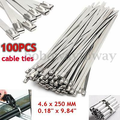 100x Strong Stainless Steel Marine Grade Metal Cable Ties Zip Tie Self-locking