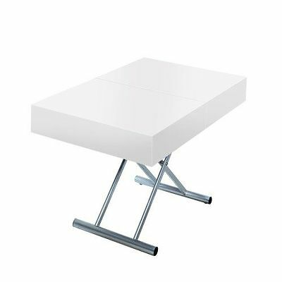 Menzzo B2232 Contemporain Cassidy Table Basse Relevable Bois/Inox Blanc NEUF