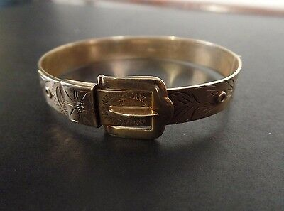 Vintage Ladies Heavy 9Ct Gold Wide Engraved Buckle Bangle With Full Hallmarks