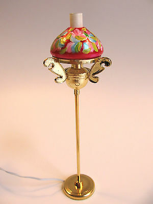 dollhouse doll house miniature ELECTRIC FLOOR LAMP RED - 3 7/8 inches