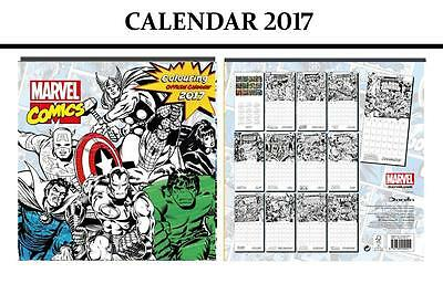 Marvel Comics (Colouring In) Official Calendar 2017 + Marvel Fridge Magnet