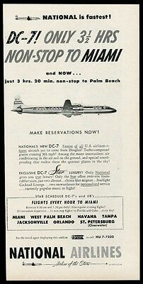 1954 National Airlines DC7 plane New York to Miami vintage print ad