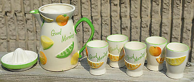 Adorable Vintage 1961 GOOD MORNING Juice Set PITCHER Glass & REAMER Napco Japan