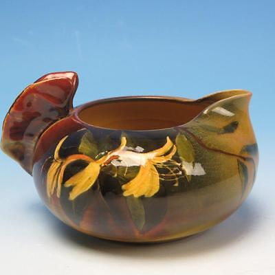 Rookwood Art Pottery - Brown Floral Decorated - Butterfly Handled Creamer