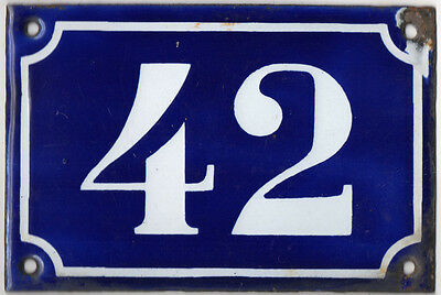 Old blue French house number 42 door gate plate plaque enamel metal sign c1900