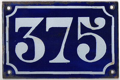 Old blue French house number 375 door gate plate plaque enamel metal sign c1900