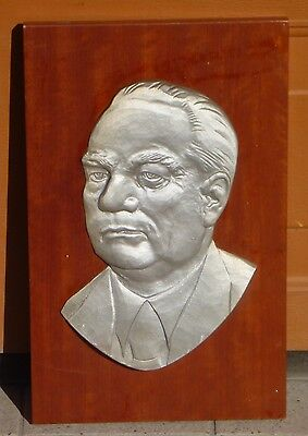 altes Metallrelief Wilhelm PIECK  SELTEN!!  Super Deko DDR OSTALGIE