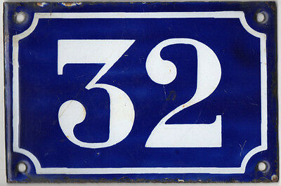Old blue French house number 32 door gate plate plaque enamel metal sign c1900