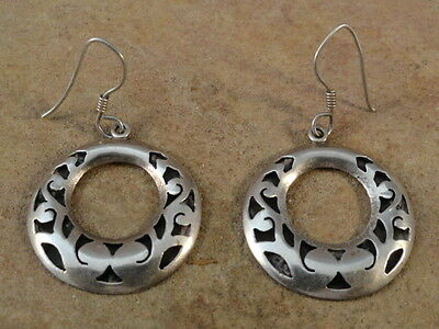 Small Vintage Mexican Mexico Sterling Silver Hoop Earrings