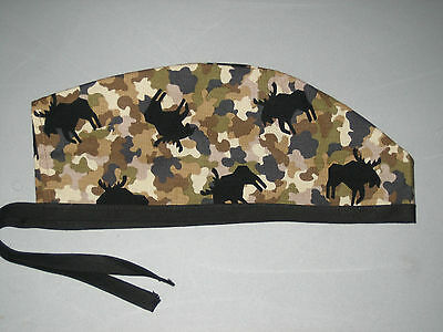 Surgical Scrub Hats/Cap Camo pattern with black moose on brown