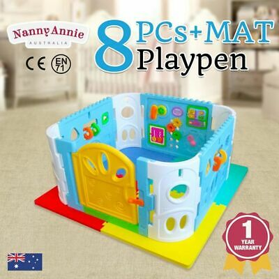 Baby Playpen - Interactive Baby Room Play Den with Gate and EVA Foam Safety Mat