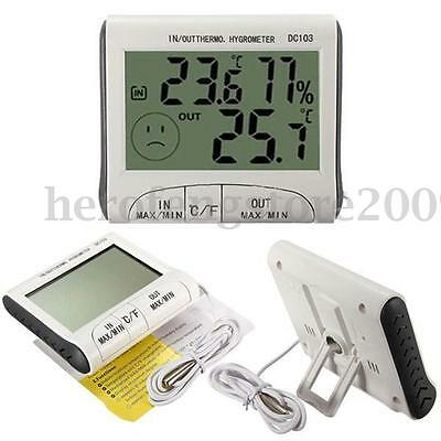 In/ Outdoor LCD Digital Thermometer Humidity Temperature Hygrometer Meter Office