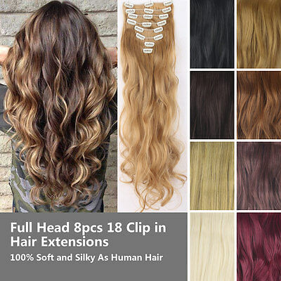 Full Head 8pcs 18 Clip in Hair Extensions Synthetic Straight Curly Natural