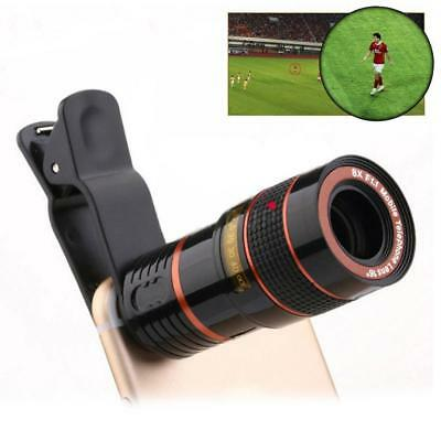 Universal 8X Zoom Mobile Phone Camera Optical Telescope Lens with Clip Black