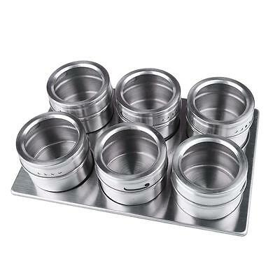 Kitchen 6pcs Stainless Steel Magnetic Spice Jars With Stainless Trestle Rack