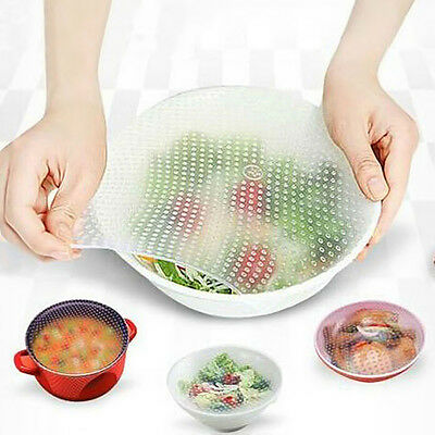 4 Pcs Reusable Silicone Food Wrap Seal Bowl Cover strech Food Fresh Keeping