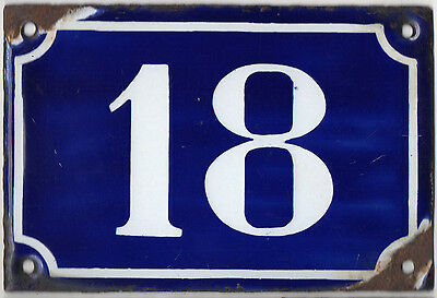 Old blue French house number 18 door gate plate plaque enamel metal sign c1900