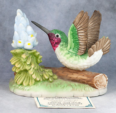 "Porcelain Bisque 3.25"" Black Chinned Hummingbird Bird Figurine Bronson With Tag"