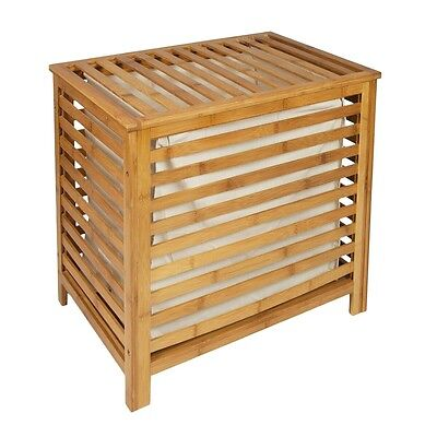 Strong Bamboo Laundry Linen Basket Solid Slats Storage Washing Box With Lid