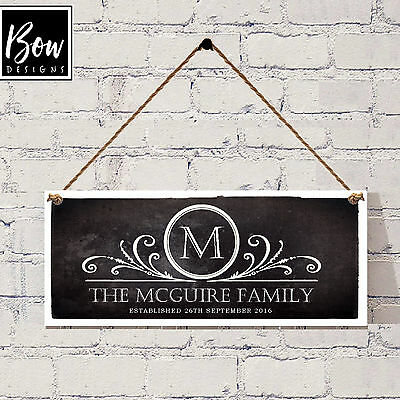 155 Hand Made & Personalised Family Name Plaque / Chalkboard Style Surname Sign