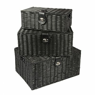 Resin Woven Storage Box Hamper Basket With Lid & Lock - Black or White