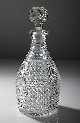 Georgian/Regency Antique Diamond Cut Glass Decanter & Stopper c1820