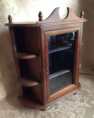 Vtg 3 Shelf Wood Curio Cabinet Glass Door Wall Mount Hanging or Table Top 22.5""