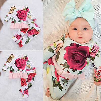 2pcs Newborn Toddler Infant Baby Girls Clothes T-shirt Tops+Pants Outfits Set