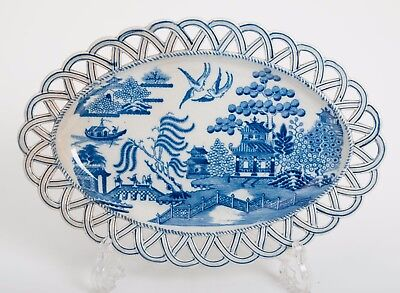 Antique Staffordshire Pearlware Blue & White Willow Pattern Arcade Border Dish