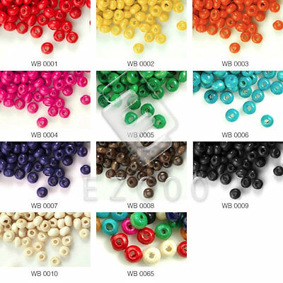 Approx 1400pcs Wooden Wood Beads Spacer Round Dyed Beads Jewelry Findings