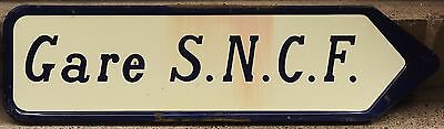 French enamel steel metal road street traffic sign gare train station SNCF 1966