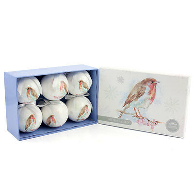 Winter Robin Set of 6 Christmas Tree Bauble Decorations - Gift Boxed