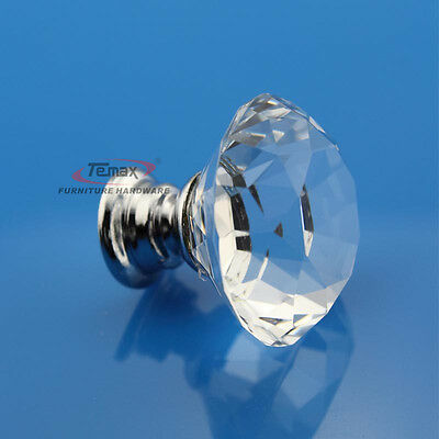 10pcs zinc alloy clear glass crystal sparkle cabinet drawer pulls knobs handle
