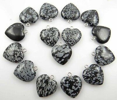 Beautiful Heart Snowflake obsidian agate pendant Gemstone LOOSE necklace