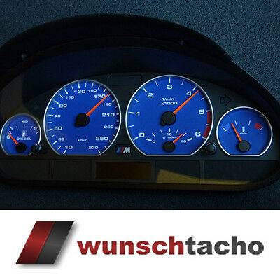 "Speedometer dial speedometer BMW E46 ""Alp - Blue"" 270 Kmh M3 for Petrol"
