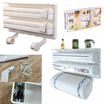 Kitchen Roll Dispenser Cling Film Tin Foil Holder Rack Wall Mounted 3 In 1