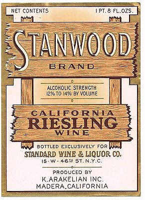 C1930S Stanwood Wine Bottle Label Madera California Original Vintage Riesling