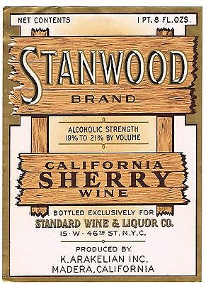 C1930S Stanwood Wine Bottle Label Madera California Original Vintage Sherry